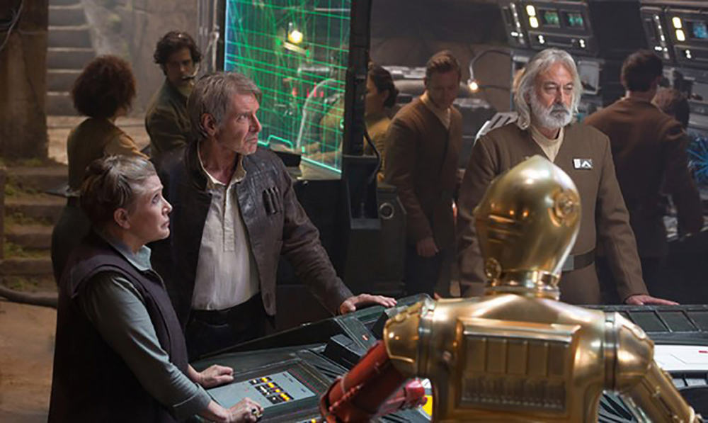 "Andrew Jack, right, appeared in ""Star Wars: Episode VII - The Force Awakens,"" alongside Carrie Fisher and Harrison Ford."